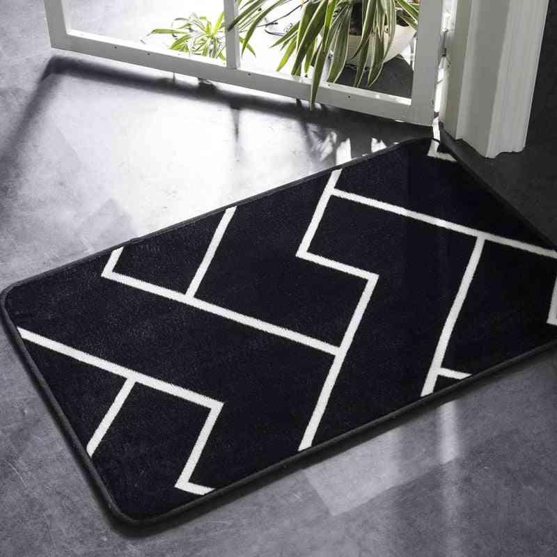 Black And White Classic Geometric Non Slip Pattern Bath Mat, Rug, Carpet