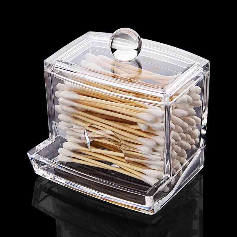Clear Acrylic Cotton Swabs Sticks Holder - Cotton Pads Container And Makeup Organizer For Home