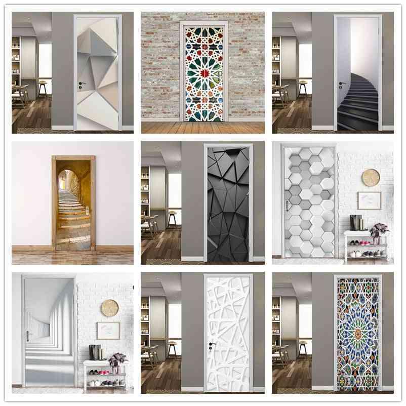 Black Geometric Door Sticker- Home Decor, Self Stick Wallpaper, Waterproof Renovation Poster