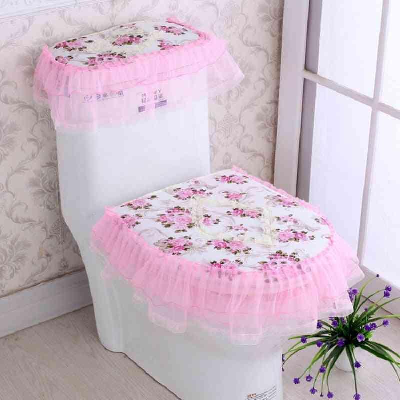 Lace Design, Toilet Seat Cover-three Piece Set