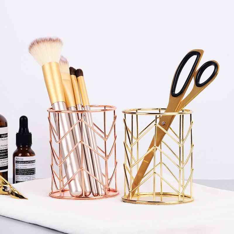 Cylindrical Case Makeup Storage Box - Lipstick Brush, Pen Holder Organizer