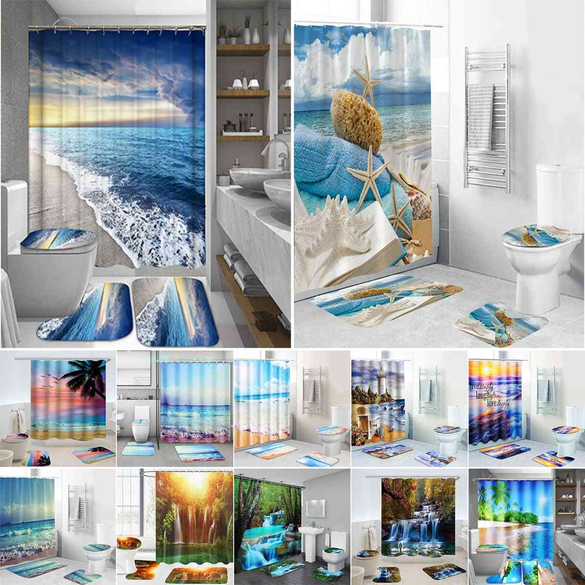 Products Coastal Beach-scenery Printed Pattern, Shower Curtain With Hooks, Toilet Seat Cover And Bath Mat Set