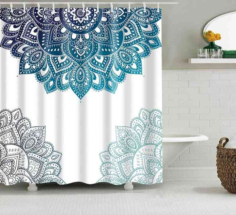 Mandala Flower Printed-polyester Fabric Shower Curtains With Hooks
