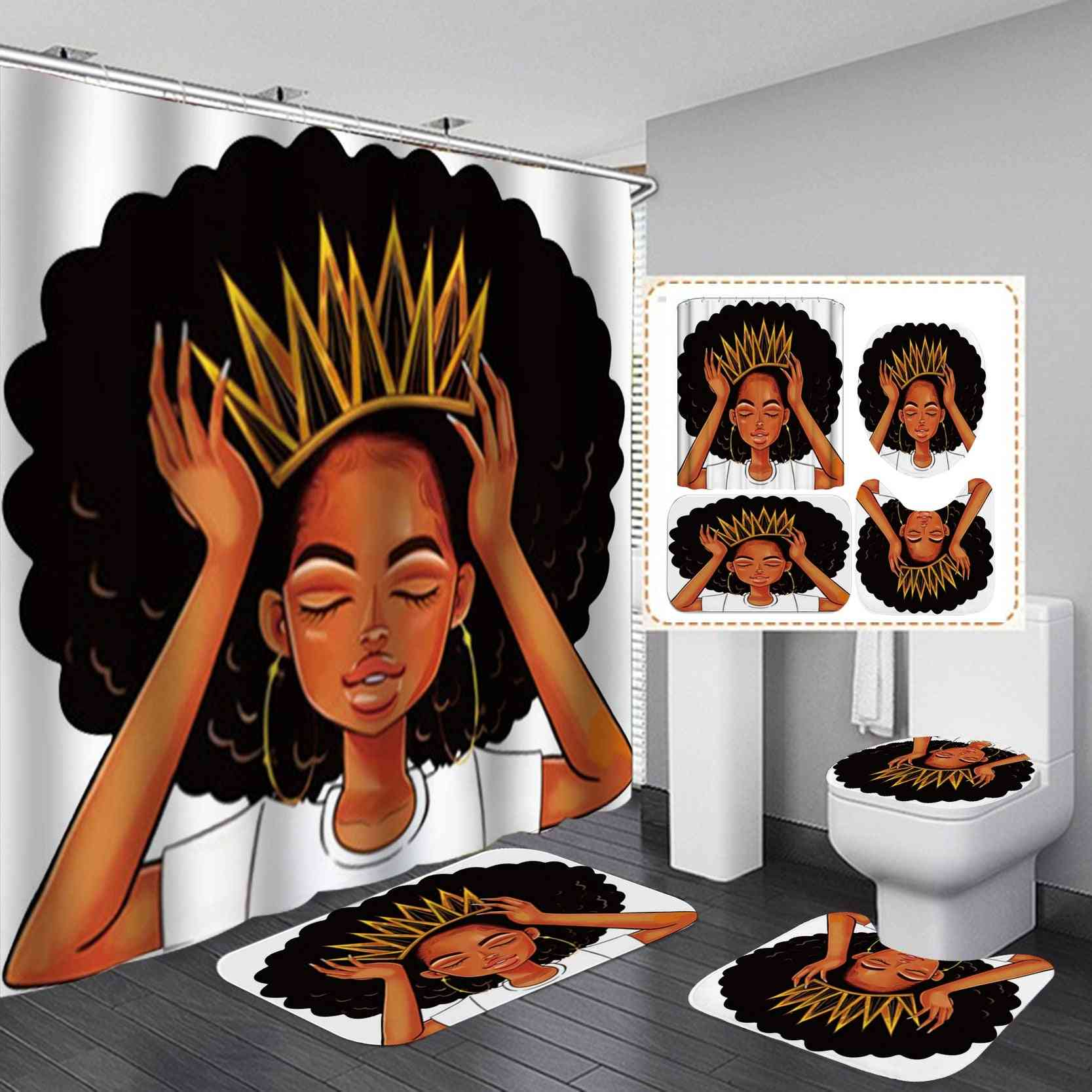 African American Women With Crown Shower Curtain Queen Princess Bath Curtains With Rugs Toilet Seat Cover Set