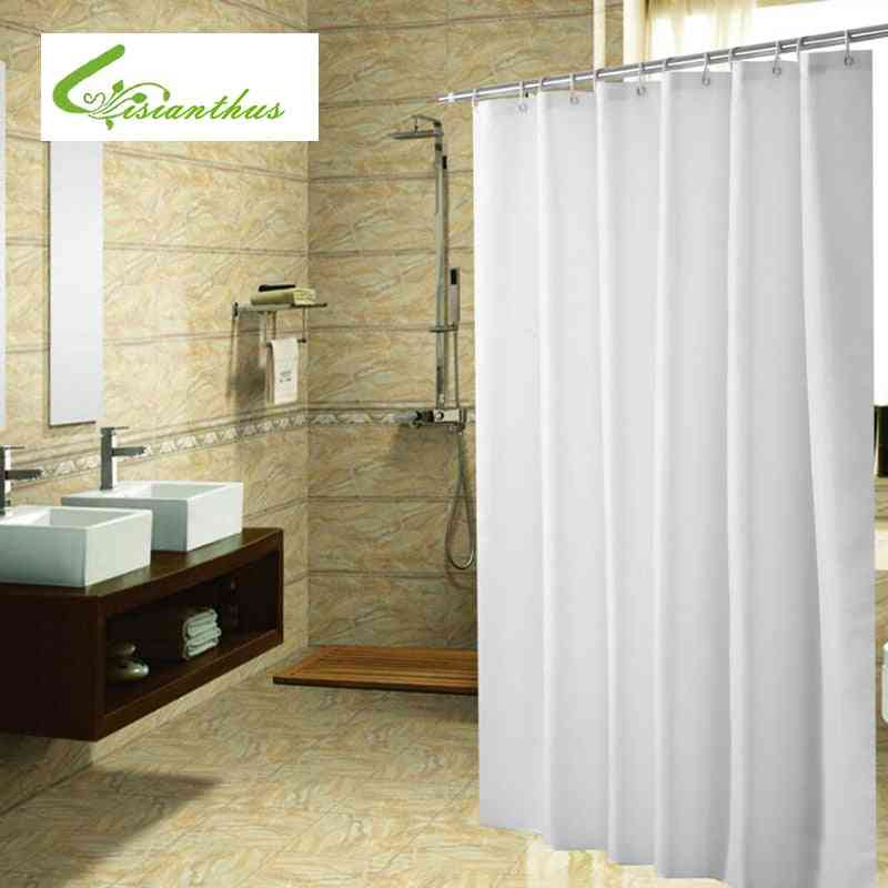 Polyester Fabric Shower Curtain With Hooks Waterproof Plastic Bath Screens Solid Color Eco-friendly Bathroom Curtains
