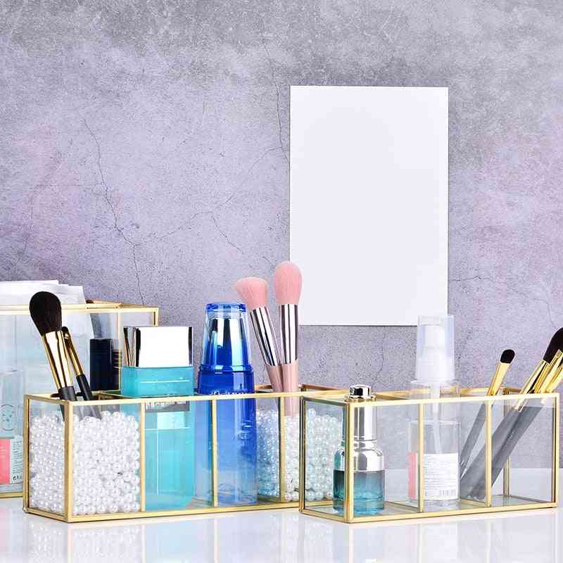 Gold Grid Glass Flip Storage Tank - Luxury Modern Cosmetics Storage Box