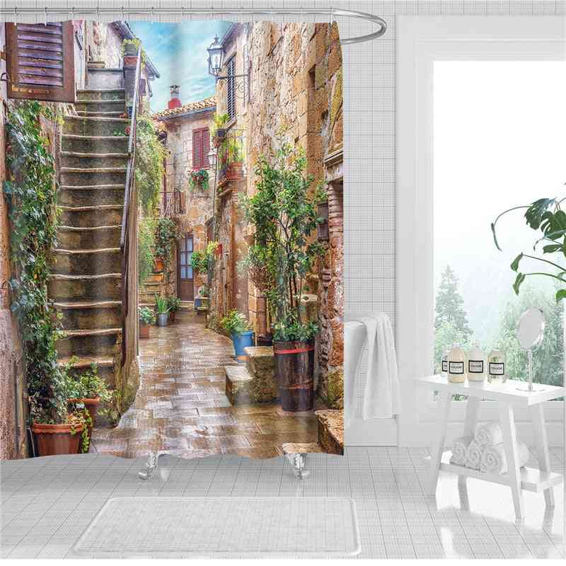 Garden And Flowers Scenery- 3d Printed Shower Curtains