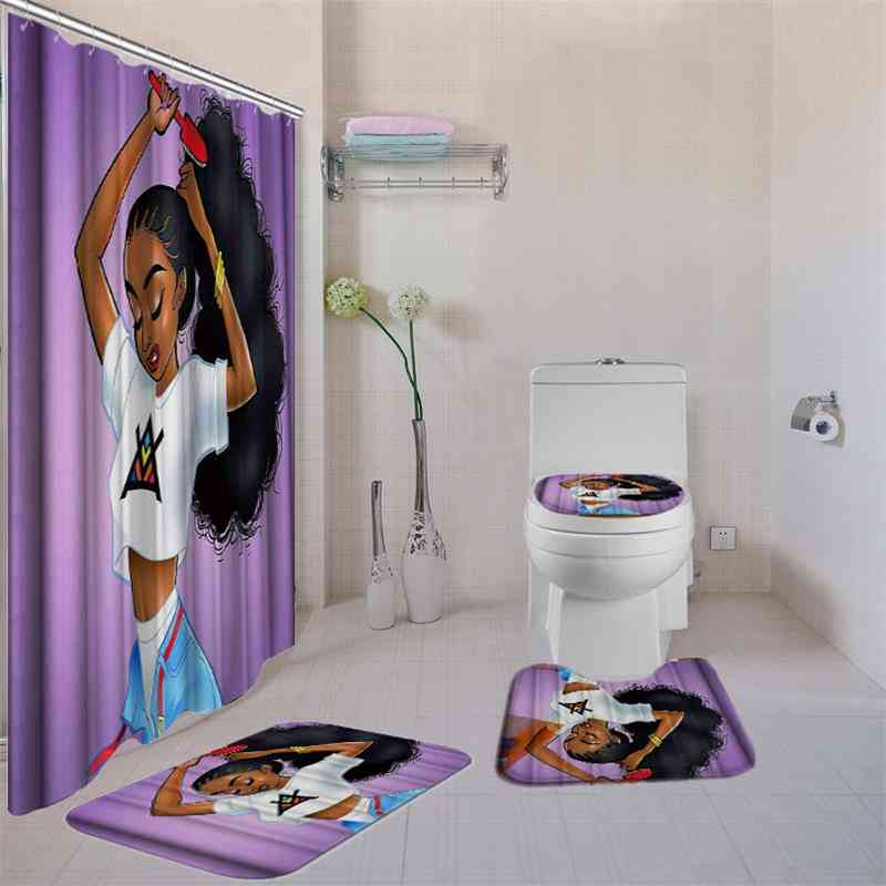 Portrait Pattern- Waterproof, Durable And 3d Printed Shower Curtains With Bath Mat Set And Hooks