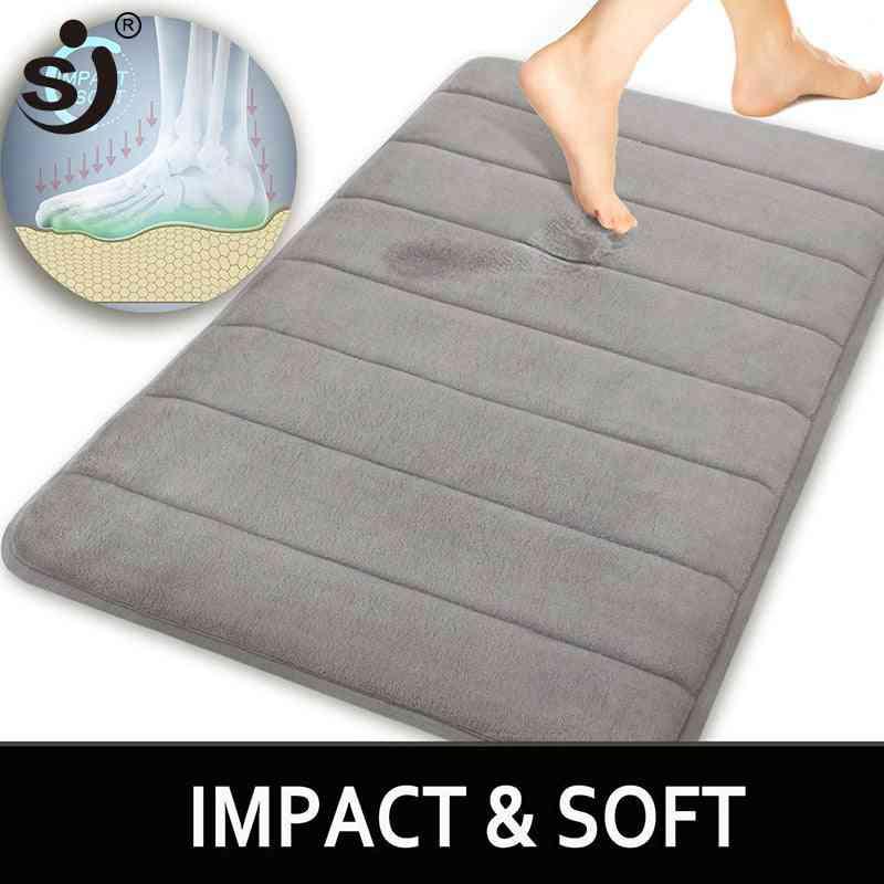 Water Absorption Shaggy Memory Foam Rug, Bathroom Mat, Carpet For Toilet