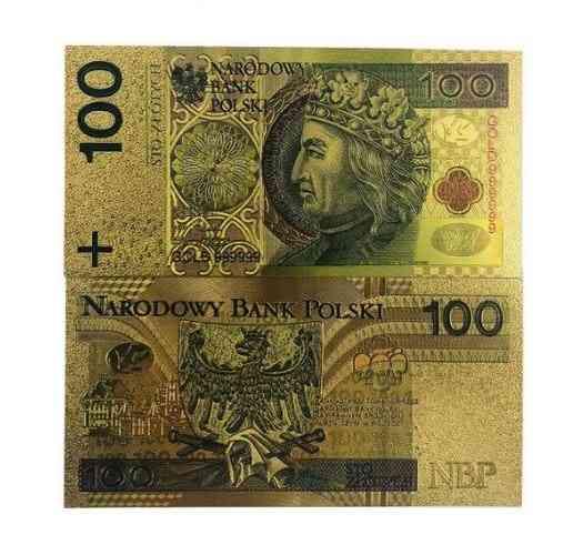 Pure Gold Foil Poland Souvenir Banknotes