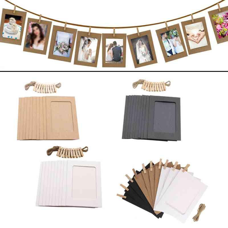 Diy Photo Frame Wooden Clip Paper Picture Holder 10pcs Wall Decoration For Christmas, Wedding, Graduation Party Photo Booth Props