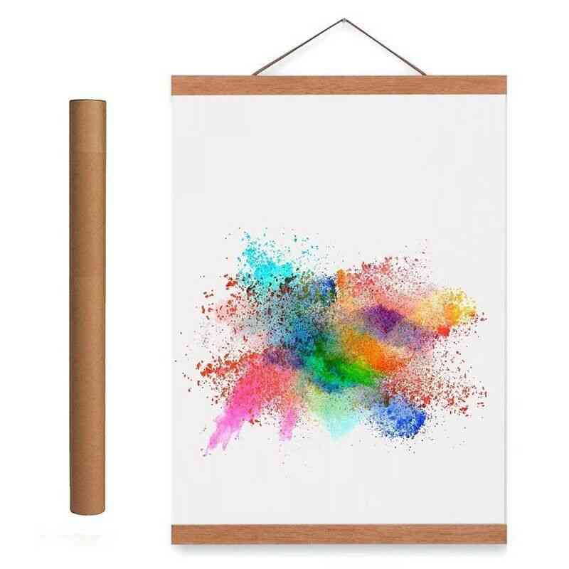 Magnetic Wooden Photo Frame Scroll Print / Poster / Picture Hanger - Diy Photo Poster Painting Wooden Hanging Home Decor