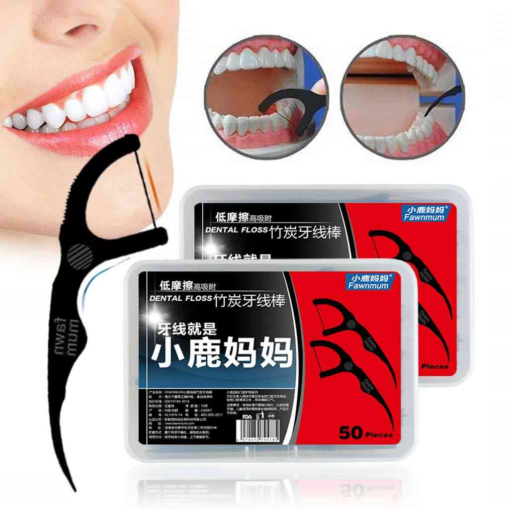 50pcs/set Dental Floss Black Bamboo Charcoal , Interdental Brushes - Oral Clean Toothpick Tool With Box