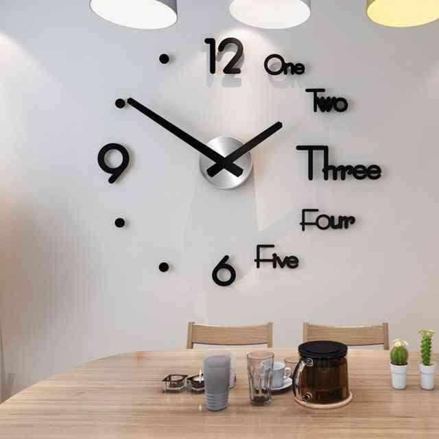 Modern Design Quartz Needle Large Wall Clocks - 3d Diy Acrylic Mirror Mechanism Stickers Home Living Room Decoration
