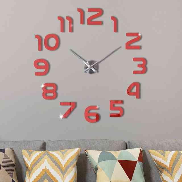 Modern Design Acrylic Silent Digital 3d Diy Wall Clock Sticker For Living Room Home Decor