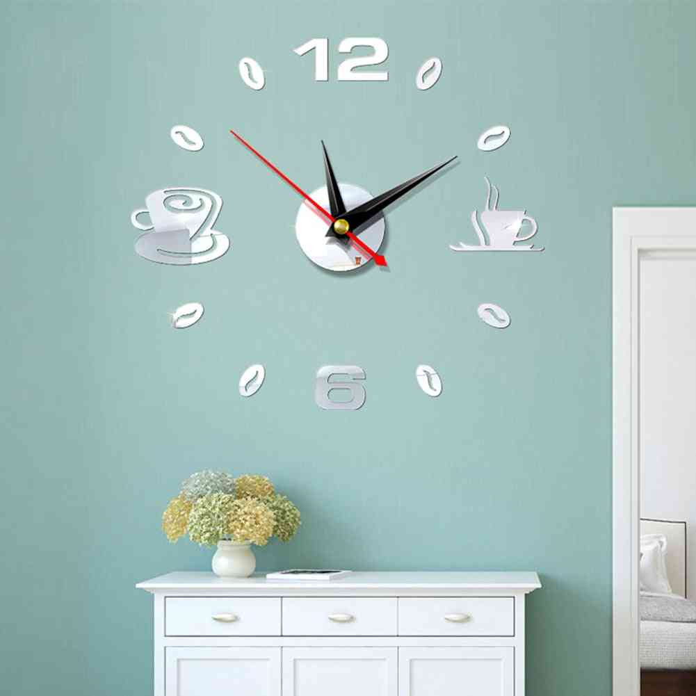 Self Adhesive Kitchen 3d Analog Home Waterproof Wall Clock Art - Diy Mute Modern Mirror Coffee Cups Decor Acrylic Wall Clock Sticker