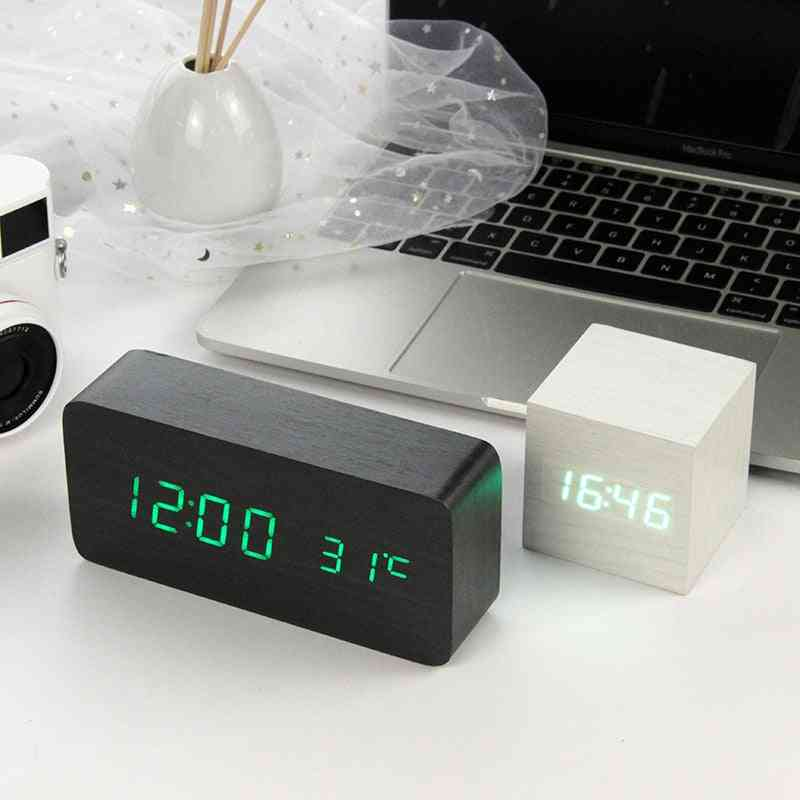 Led Wooden - Table Decor Voice Control, Usb/aaa Powered  Alarm Clock