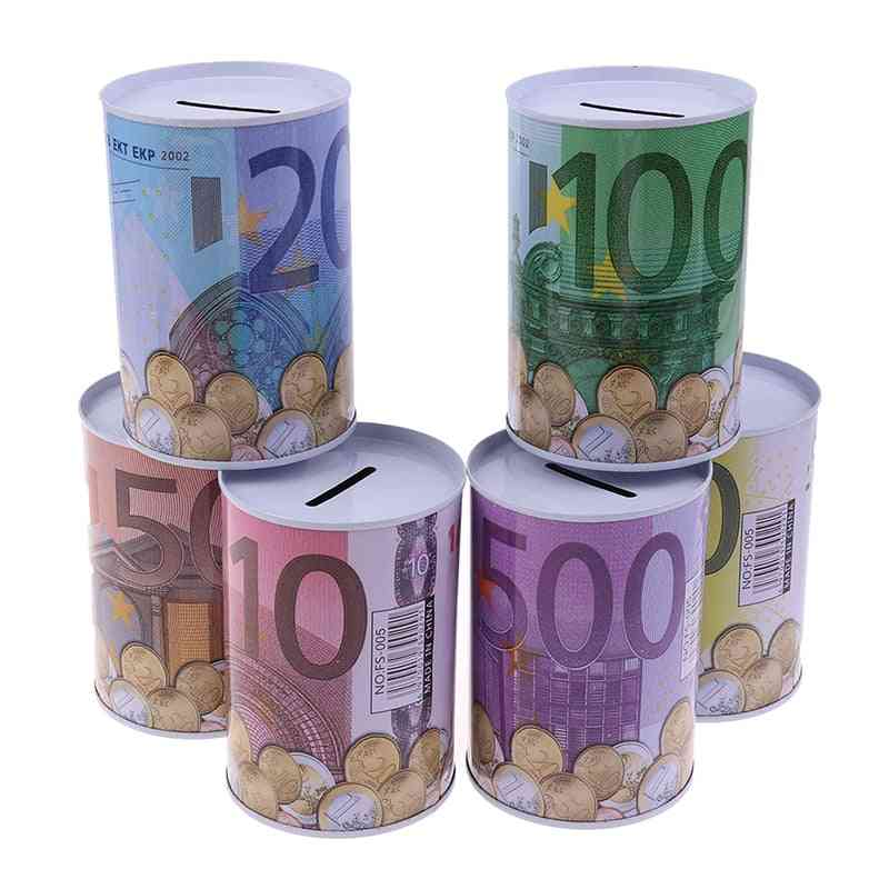 Tinplate Cylinder Piggy Bank Euro, Dollar Picture Box For Household Saving & Home Storage
