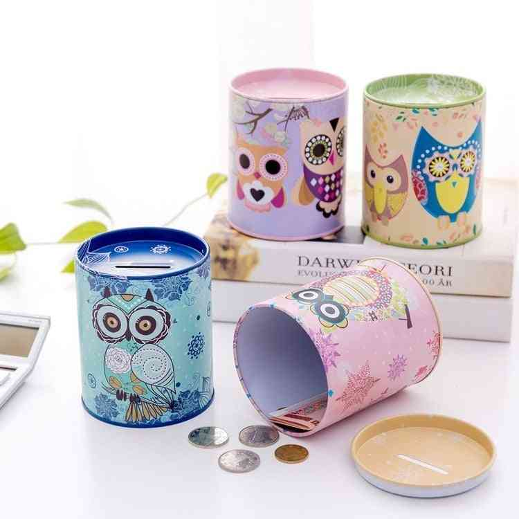 Vintage Owl, Tinplate Piggy Bank - Home Decoration Round Box Accessories For Kid &'s