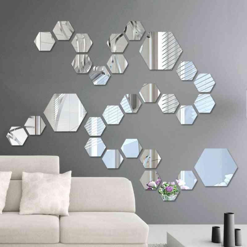 Acrylic Mirror Wall Stickers - Self Adhesive Removable Hexagonal Decorative Mirror Sheet