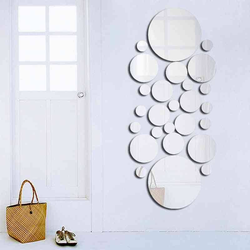 Geometric Circle 3d Stereo Removable Mirror Wall Sticker Home Background Decoration