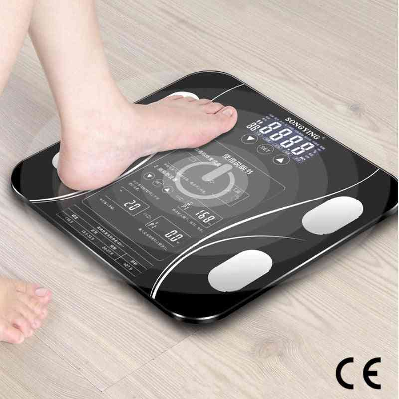 Body Fat Scale Usb Charging Smart Household Weighing Scale Fat Scale Led Digital English Function Screen Ce Certification