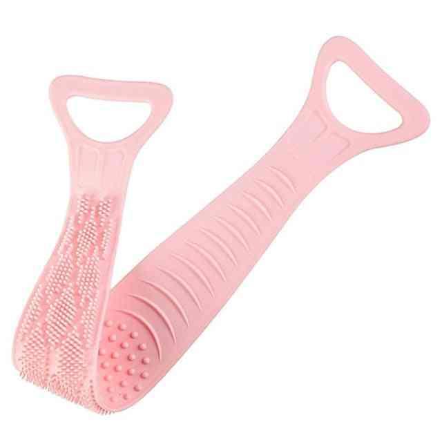 Bath Shower Silicone Body Brush Bath Belt Exfoliating Back Brush Belt Wash Clean 28'' Bath Scrub Belt Towel