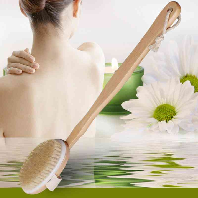 Natural Long Wooden Body Brush Massager Bath Shower Back Spa Scrubber, Natural Wooden Bath Body Brush Cleaning Tool