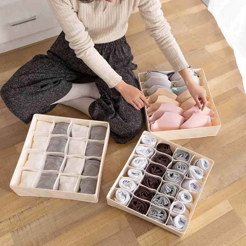 Solid Color Storage Box Organizer For Folding Socks, Bra, Underpants, Underwear