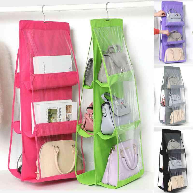 Double Sides Foldable Hanging Storage Bag , Pocket Purse, Wardrobe Organizer