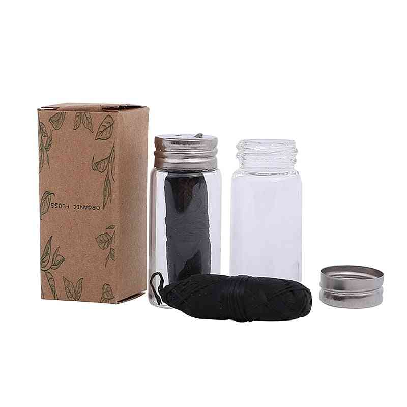 Dental Floss With Refillable Glass Holder - Naturall Zero Waste Bamboo Charcoal , Eco Oral Care Dental Flosser