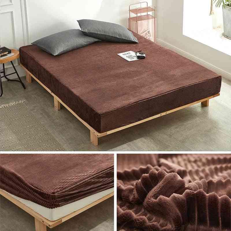 Flannel Bed Sheet Velvet Linen With Elastic Winter, Warm Fleece Fitted Sheet Single Queen King Mattress Protecter