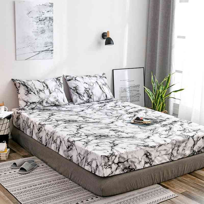 Marble Printing Bed Mattress Cover, Stain Resistant Non Slip Fitted High Elastic Dustproof Bedspread Cloths