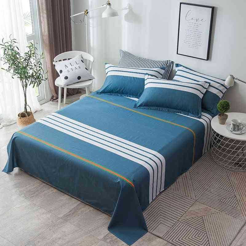 Cotton Flat Bed Sheet With Pillowcase, Geometric Printed Plaid Stripe Adult Bedding Sheets Coverlet