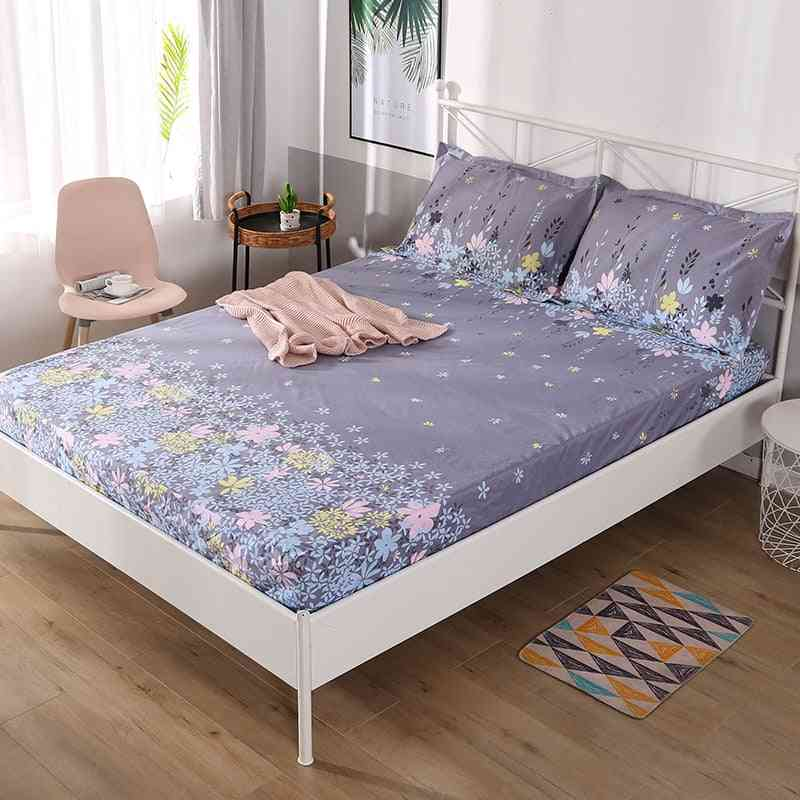 Soft Breathable Waterproof Bed Sheet With Elastic Band, Fashion Printing Anti Dirty Fitted