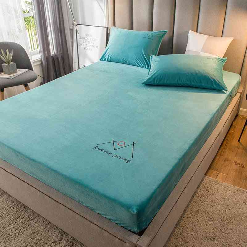 Solid Color Fitted Sheet For Winter, Thick Warm Soft Velvet Fabric Bed Sheet With Elastic Band