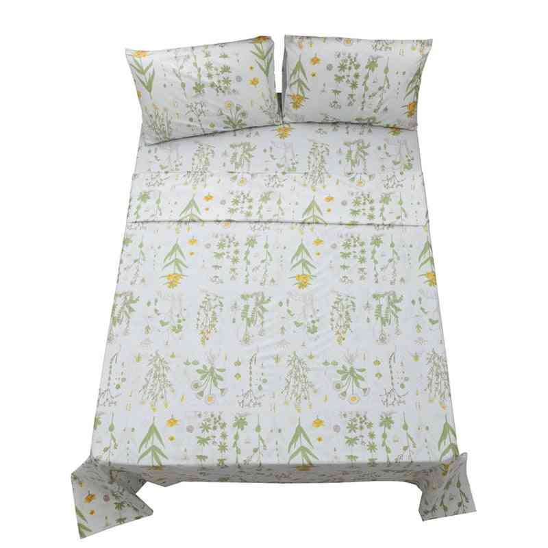 Geometric Flower Printed Bed Sheet With Pillowcase