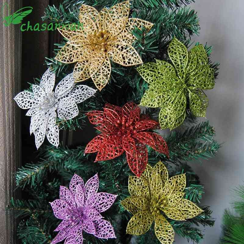 Artificial Glitter Hollow Flower For Birthday Party , New Year, Christmas Decorartificial Glitter Hollow Flower For Birthday Party , New Year, Christmas Decor