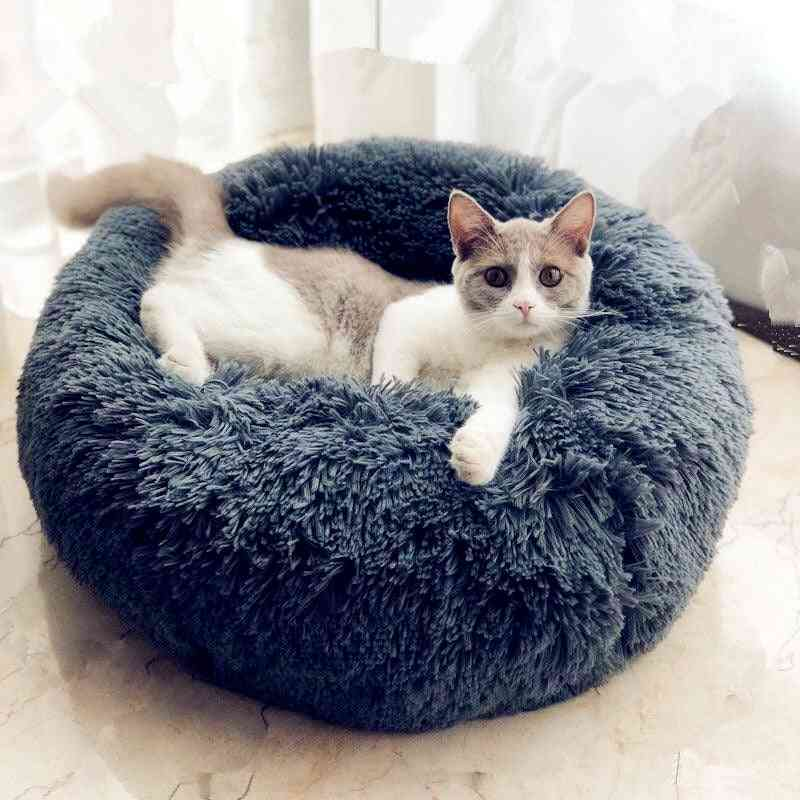 Round Cat Bed House Soft Long Plush Best  Bed For Dogs Basket, Pet Products Cushion Cat Pet Bed Mat Cat House Animals Sofa