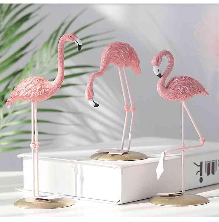 Nordic Pink Resin Flamingo -ornament For Room -desktop Station
