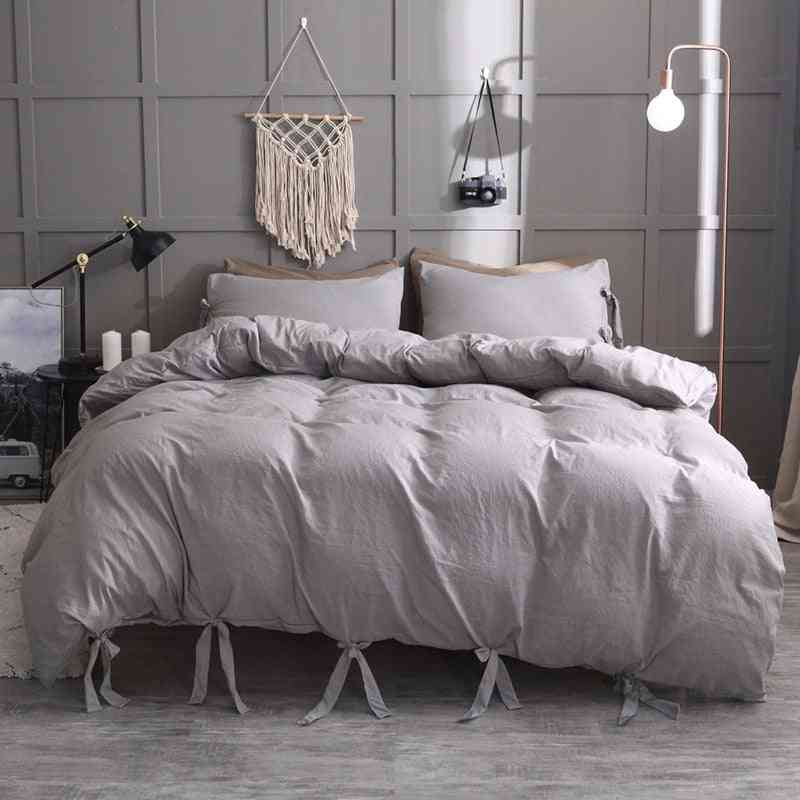 Simple Solid Color Duvet Cover Set, Nordic Lace Up Pillowcase Quilt Cover, No Bed Sheet