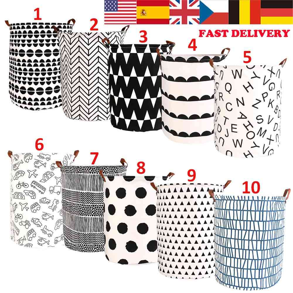 Folding Round Storage Bag Hamper Collapsible Clothes, Toy Basket, Bucket Organizer