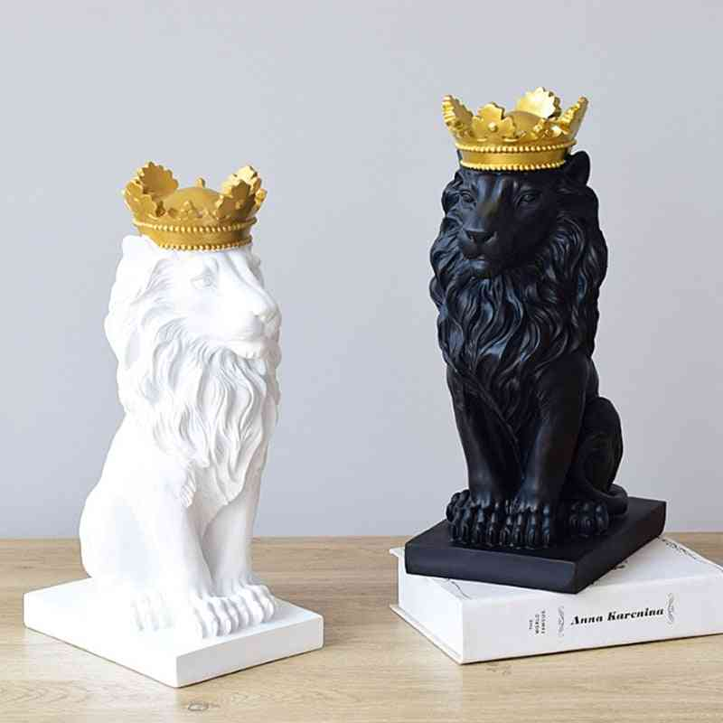 Lion Faith Resin Sculpture Model Crafts Ornament - Crown Lion Statue Home, Office, Bar Animal Abstract Art Decoration