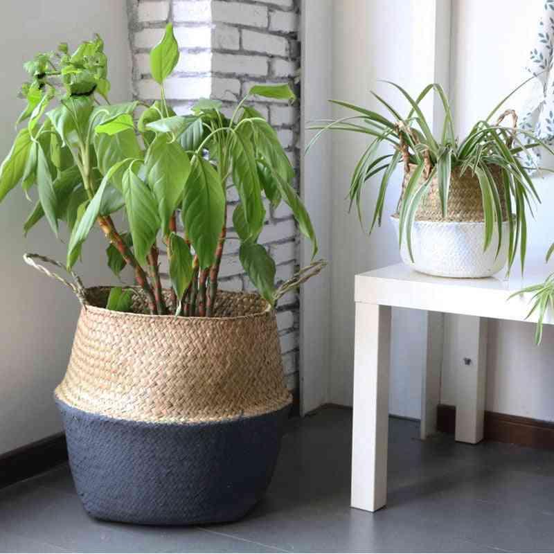 Handmade Bamboo Storage Baskets - Foldable Wicker/rattan Pot