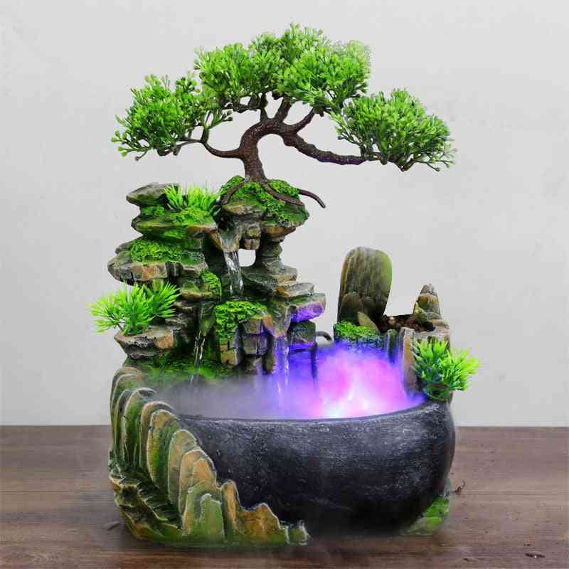 Flowing Water Desktop Waterfall Fountain With Color Changing Led Lights Spray - Wealth Feng Shui Company Office Tabletop Ornament
