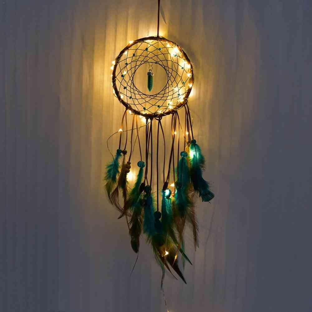 Led Handmade Feathers Dreamcatcher