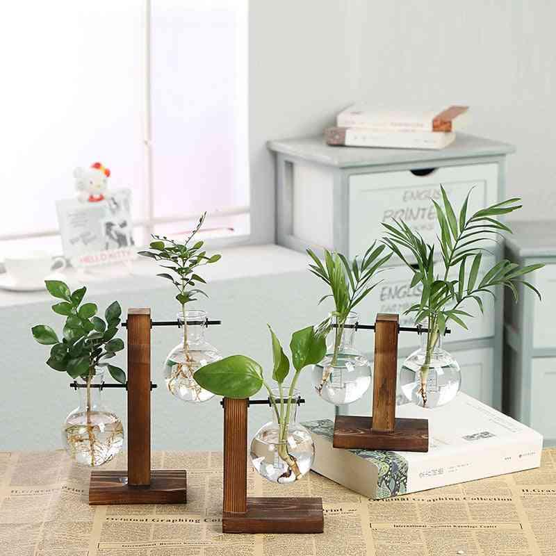 Terrarium Hydroponic Plant Transparent Vases - Flower Pot Vase, Wooden Frame Glass Tabletop For Decor
