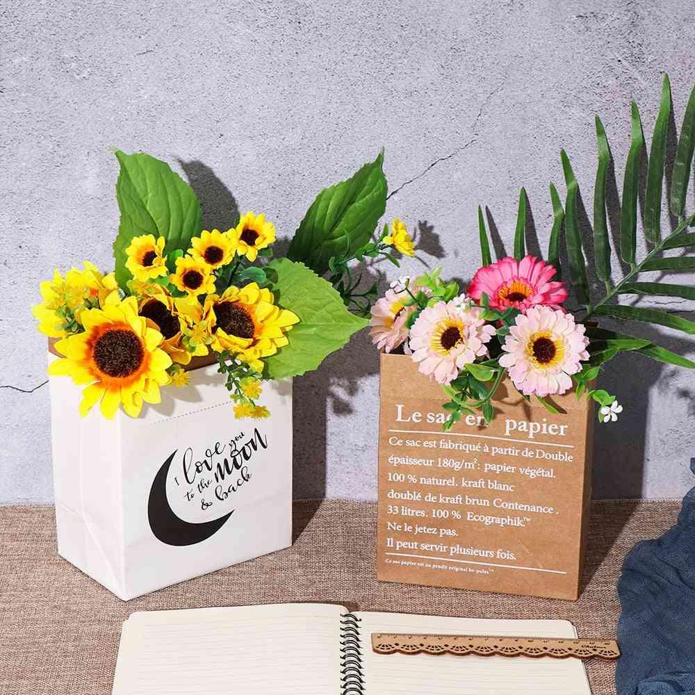 Nordic Style Double Layers Kraft Paper Bag - Artificial Flower Vase, Dried Plant Flowerpot Basket Home Decor