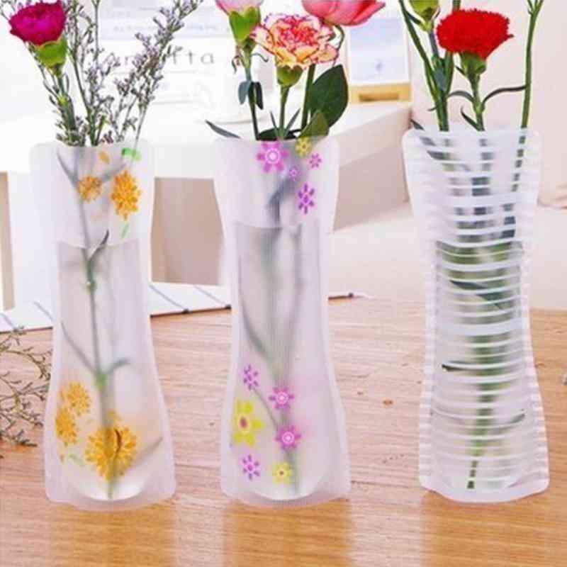 Portable Eco-friendly Flower Cute 3pcs Foldable Pvc Vase - Wedding, Office Home Decoration Pvc Plastic Flower Vase