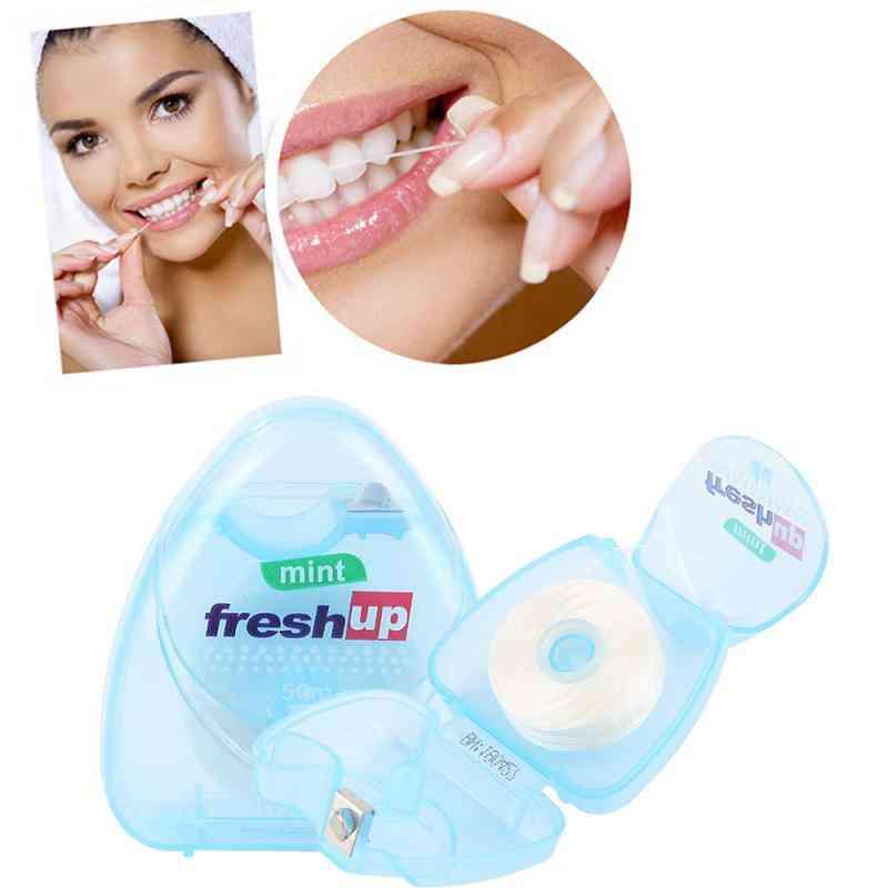 Portable 50m Micro Wax Mint Flavor Superfine Dental Floss Interdental Brush Teeth Stick Toothpick Floss